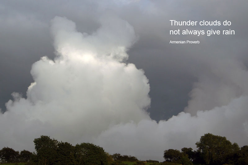 Thunder clouds do not always give rain