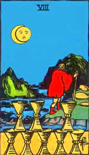 Eight of Cups - Tarot Love Relationship Outcome & Reversed