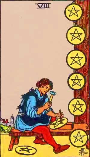 Eight of Pentacles - Tarot Love Relationship Outcome & Reversed