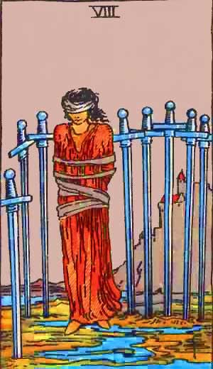 Eight of Swords - Tarot Love Relationship Outcome & Reversed
