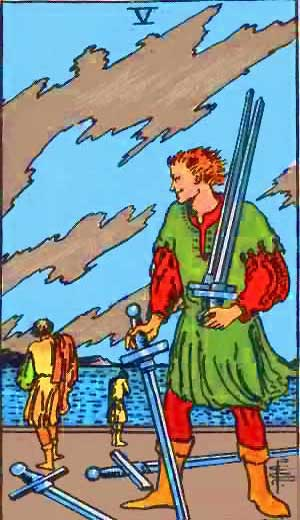 Five of Swords - Tarot Love Relationship Outcome & Reversed