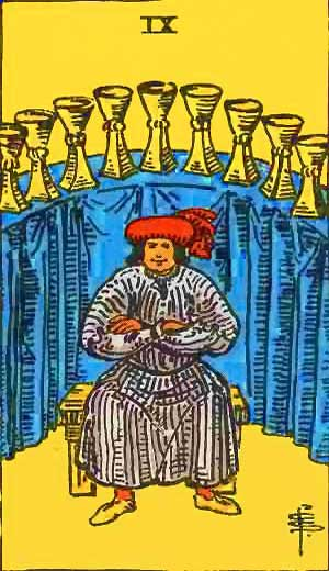 Nine of Cups - Tarot Love Relationship Outcome & Reversed