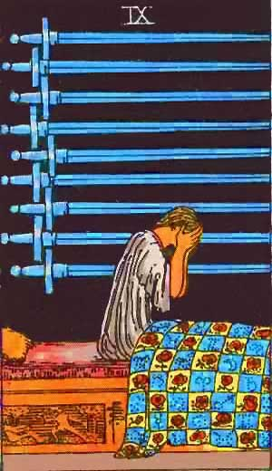 Nine of Swords - Tarot Love Relationship Outcome & Reversed