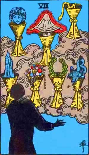 Seven of Cups - Tarot Love Relationship Outcome & Reversed