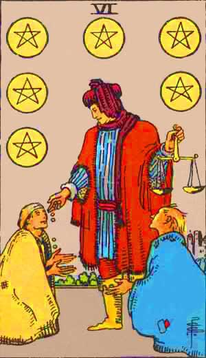 six of pentacles in a relationship