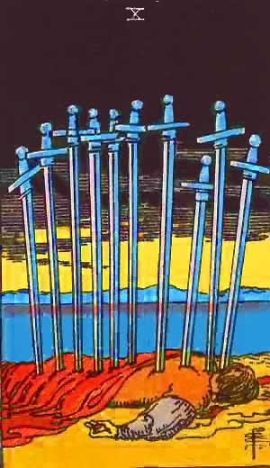 Ten of Swords - Tarot Love Relationship Outcome & Reversed