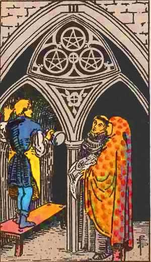 Three of Pentacles - Tarot Love Relationship Outcome & Reversed