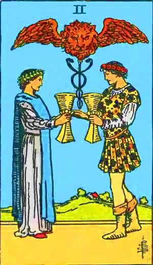 Two of Cups - Tarot Love Relationship Outcome & Reversed